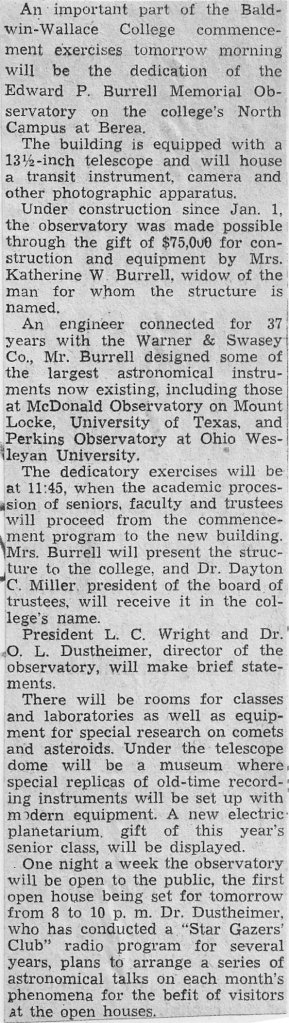 Newspaper Clipping of Story Detailing the Burrell Observatory and 1940 Commencement at, then, Baldwin-Wallace College