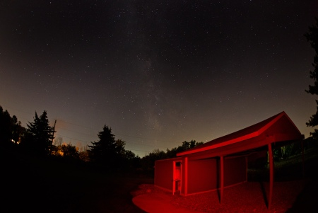 Cuyahoga Astronomical Association's Observatory at Night. Photo by James Guilford.