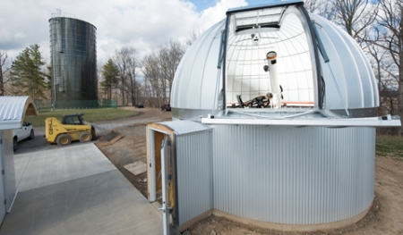 Observatory Dome open with Fecker Telescope Visible. Credit: Ohio University