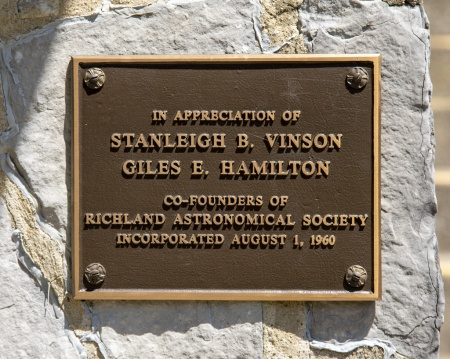 Richland Astronomical Society Plaque
